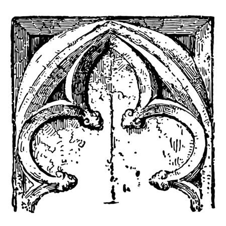 Gothic Cinquefoil part of a Gothic ornament commonly found in stone decorations windows or panels architecture example vintage line drawing or engraving illustration.