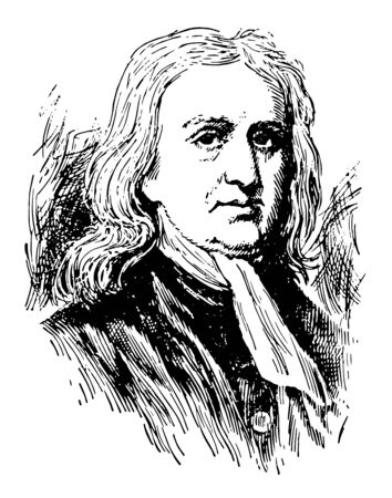 Illustration pour Sir Isaac Newton 1642 to 1727 he was an English mathematician astronomer and physicist who discovered the law of gravitation vintage line drawing or engraving illustration - image libre de droit