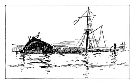 Illustration pour Wreck of the Maine in Havana Harbor which is the first ship of the United States Navy to be named for the state of Maine, vintage line drawing or engraving illustration. - image libre de droit