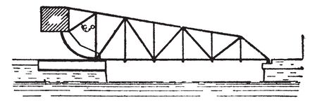 Bridge Scherzer Single Leaf Bascule Bridge is a moveable bridge with a counterweight that continuously balances a span, vintage line drawing or engraving illustration.