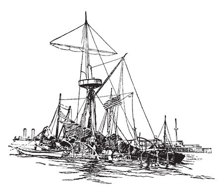 Illustration pour This image represents Wreck of the Maine, vintage line drawing or engraving illustration. - image libre de droit