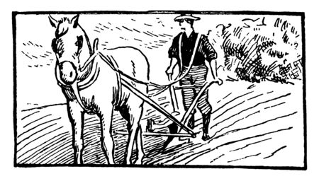 Illustration pour A man plowing a field with a horse and plow, vintage line drawing or engraving illustration - image libre de droit