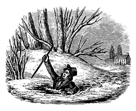 A man fell into the icy water, vintage line drawing or engraving illustration