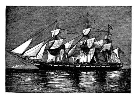 The Hartford Farragut Flagship is the commander of the newly created West Gulf Blockading Squadron, vintage line drawing or engraving illustration.