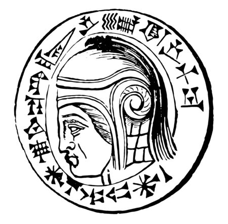This image shows the coin. On the surface of the coin there is a face of the king of Babylon, vintage line drawing or engraving illustration.