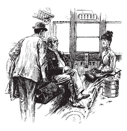 Illustration pour Traveling Selfishly would seem to have a distinctly selfish tendency, vintage line drawing or engraving illustration. - image libre de droit