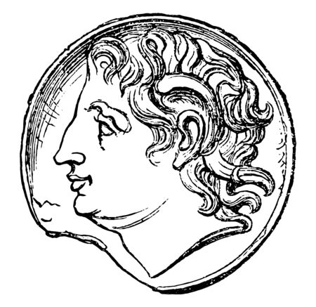 This image shows a coin. On the surface of the coin there is a face of Alexander the Great, vintage line drawing or engraving illustration.