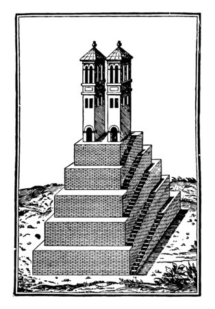 This image shows a temple. This is the Aztec temple in Montezuma. Around the temple there are small plants. The structure of the temple is like a staircase, vintage line drawing or engraving illustration.