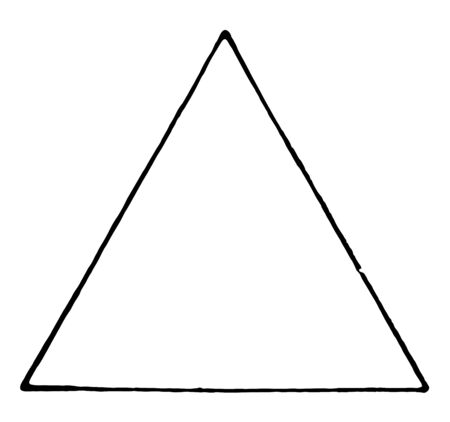 Illustration pour An image showing equilateral triangle. All sides of this triangle are equal, vintage line drawing or engraving illustration. - image libre de droit