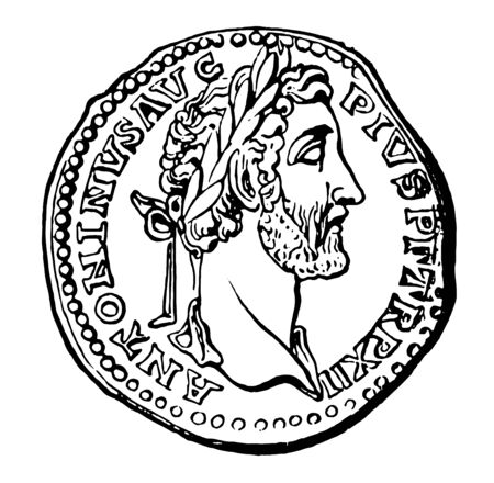 An ancient coin that has the design of a Roman emperor, vintage line drawing or engraving illustration.