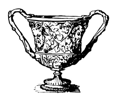 This is the image of Silver Krater. This silver krater was founded in Hildesheim. It is decorated with the design, vintage line drawing or engraving illustration.