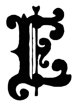 The 'E' shown in the image is from the medieval era with an attractive and neat figure, vintage line drawing or engraving illustration.