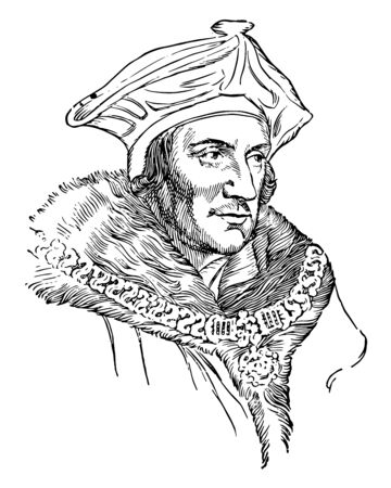 Illustration pour Sir Thomas More, 1478-1535, he was an English lawyer, social philosopher, author, statesman and noted Renaissance humanist, vintage line drawing or engraving illustration - image libre de droit