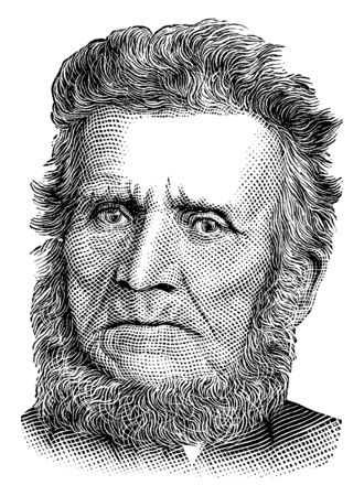 Ilustración de John Brown, 1800-1859, he was an American abolitionist, he led a raid on the federal armoury at Harpers Ferry to start a liberation movement in 1858, vintage line drawing or engraving illustration - Imagen libre de derechos