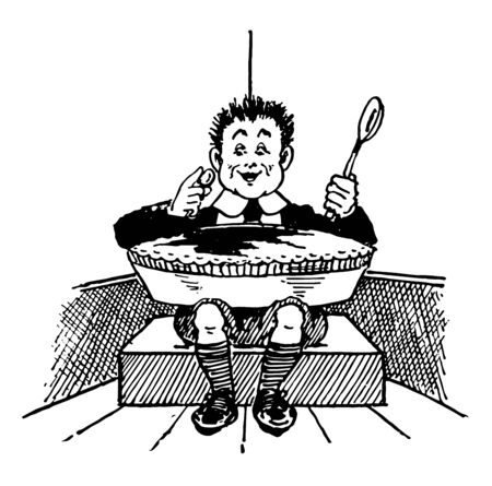 Little Jack Horner, this scene shows little boy sitting in corner and pulling a plum out of his pie, vintage line drawing or engraving illustration
