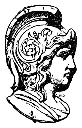 Warrior Head was frequently found on medallions, vintage line drawing or engraving illustration.