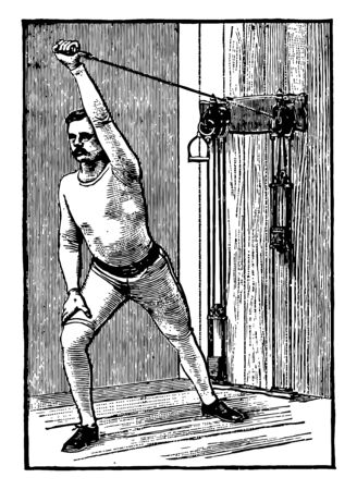 A man doing chest exercise by pulling weights tied on machine from both arms. In this exercise, he extends his left arm out vertically and then pulling weights from left arms, vintage line drawing or engraving illustration.