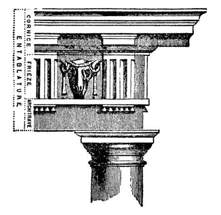 Entablanture, architrave, molding, superstructure, vintage line drawing or engraving illustration