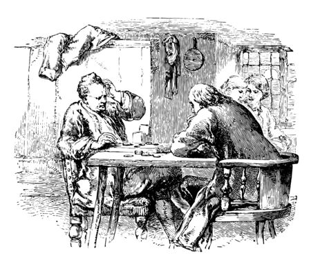 In this picture there are two men sitting at a table & playing a game. Also there are two women who are chatting with each other's, vintage line drawing or engraving illustration.