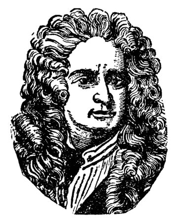 Illustration pour Sir Isaac Newton, 1642-1727, he was an English mathematician, astronomer, and physicist  who discovered the law of gravitation, vintage line drawing or engraving illustration - image libre de droit