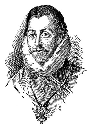 Illustration pour Sir Francis Drake, 1540-1596, he was an English sea captain, privateer, navigator, and civil engineer of the Elizabethan era, and first European visitor to Oregon, vintage line drawing or engraving illustration - image libre de droit