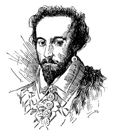 Illustration pour Sir Walter Raleigh, 1554-1618, he was an English writer, poet, soldier, politician, courtier, spy and explorer, vintage line drawing or engraving illustration - image libre de droit