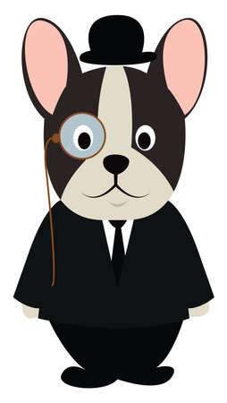 Illustration for Dog in black suit, illustration, vector on white background. - Royalty Free Image