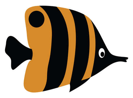 Butterfly fish, illustration, vector on white background.