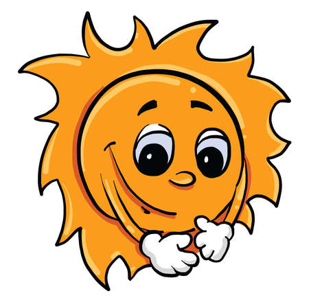 Illustration for Sun with eyes, illustration, vector on white background - Royalty Free Image