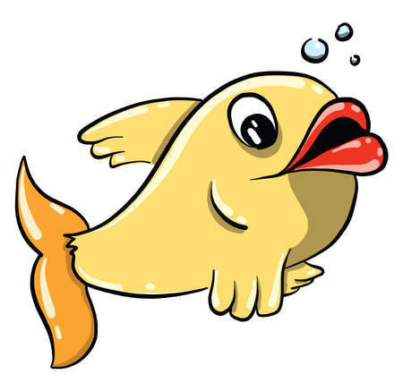 Illustration pour Yelow fish with big lips, illustration, vector on white background - image libre de droit