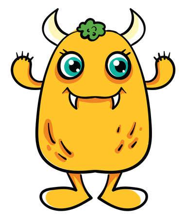 Illustration for Yellow monster, illustration, vector on white background - Royalty Free Image