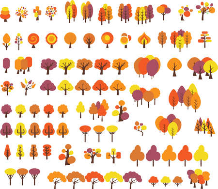 Illustration pour Vector set of trees with different stlye in fall - image libre de droit