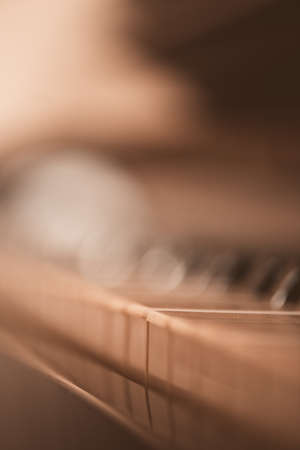Photo for Old vintage piano closeup with focus on keys. - Royalty Free Image