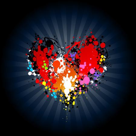 Bright ink splash in heart shape. Vector illustration.