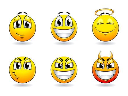 Set of pretty smiles-balls. Vector illustration.