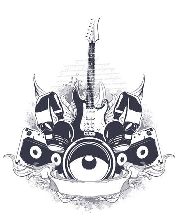 Illustration for Set of musical grunge elements.  - Royalty Free Image