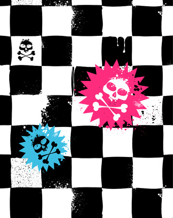 Modern seamless texture with skulls. Cool emo style.