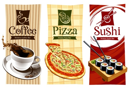 Template designs of food banners. Coffee, pizza and sushi. Vector illustration.