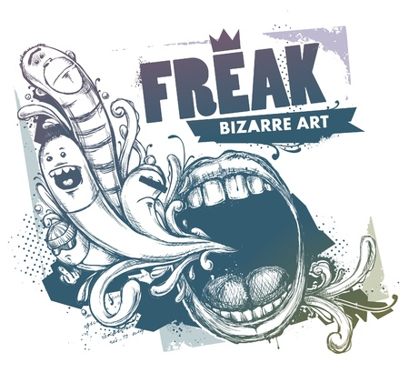 Modern sketchy style image of mouth and freaks. Vector EPS 10 illustration.