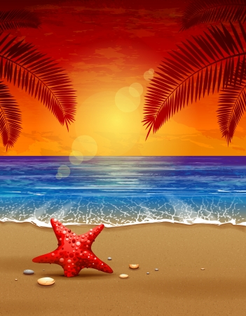 Illustration pour Sea sunset vector illustration  Paradise beach  - image libre de droit