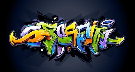 Bright graffiti lettering on dark background  Wild style graffiti letters  Vector illustration
