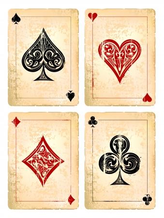 Grunge poker cards vector set. Vector illustration.