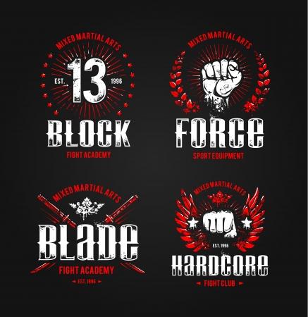 Grunge fighting prints. Martial arts badges. Vector illustration.