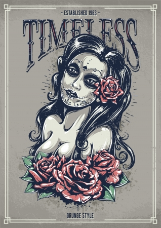 Day of dead sexy girl with roses. Grunge poster. Vintage print. illustration.