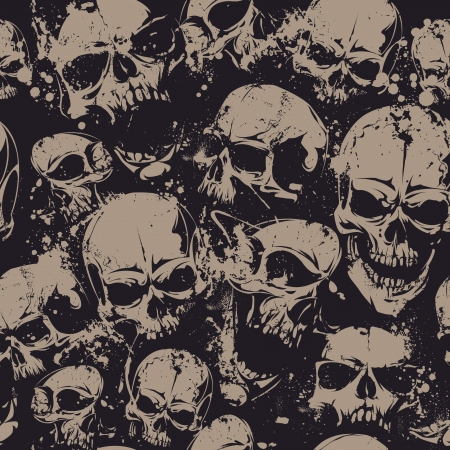 Grunge seamless pattern with skulls. illustration.