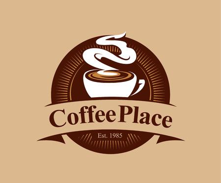 Coffee shop logo design template. Retro coffee emblem. Vector art.