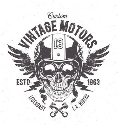Illustration pour Rider skull with retro racer attributes. Grunge print. Vintage style. Vector art. - image libre de droit