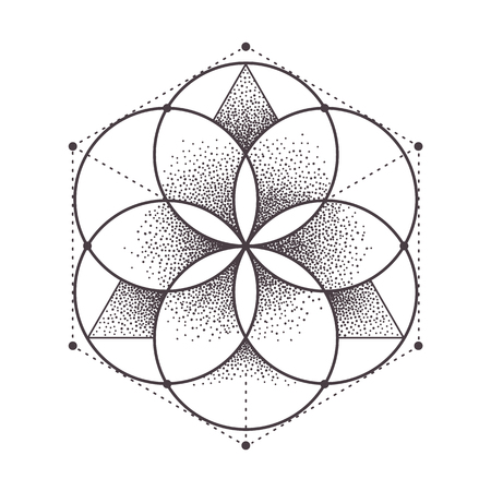 Illustration for Abstract sacred geometry. Geometric symmetric pattern isolated on white. Dotwork style vector illustration. - Royalty Free Image