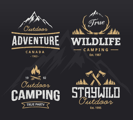 Illustration pour Set of vintage camping, outdoor adventure emblems. retro labels. design templates. - image libre de droit