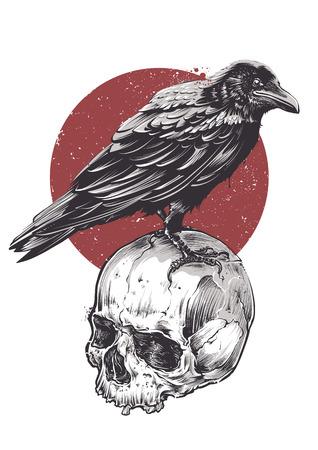 Illustration pour Raven on skull grunge image. Hand drawn vector art. Sketch vector illustration. - image libre de droit